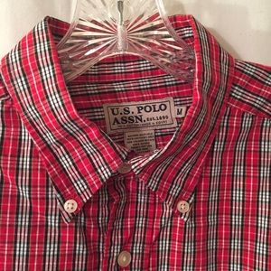 Other - US POLO ASSN, Med button down, red/navy/wh plaid
